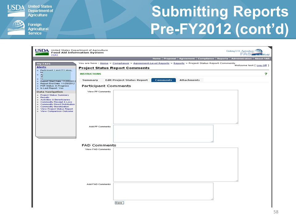 United States Department of Agriculture Foreign Agricultural Service Submitting Reports Pre-FY2012 (cont'd) 58