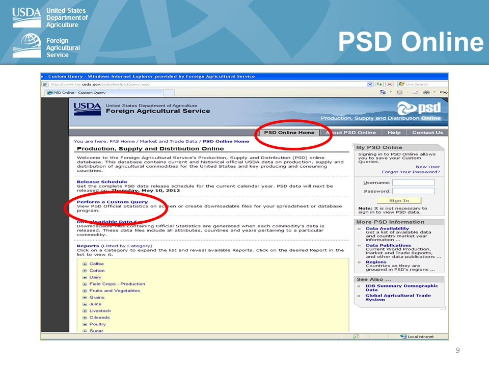 United States Department of Agriculture Foreign Agricultural Service PSD Online 9