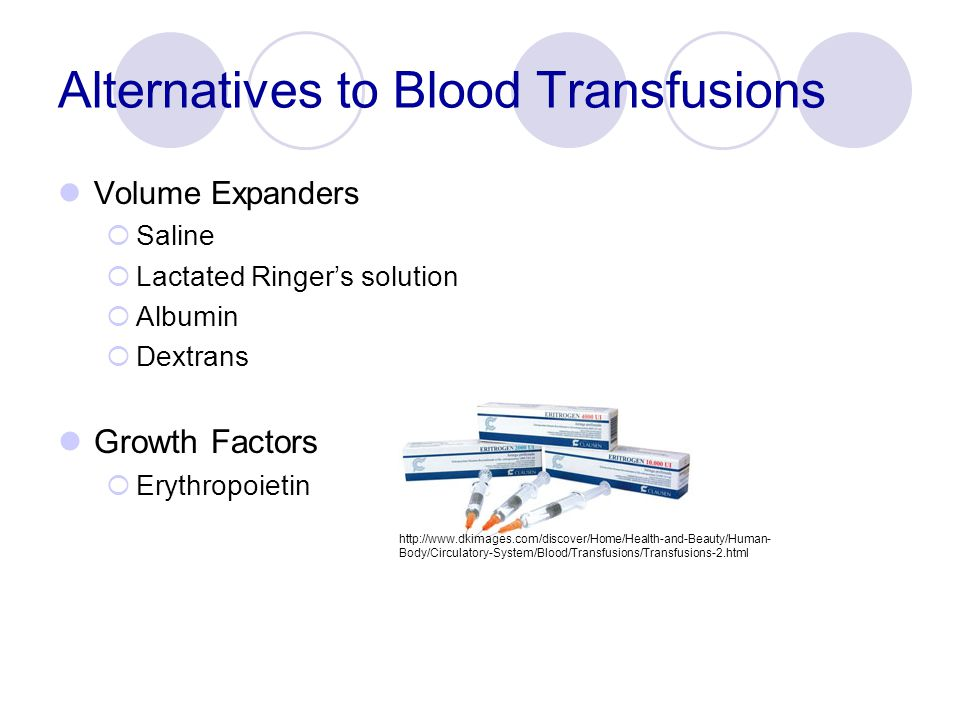 Alternatives to Blood Transfusions Volume Expanders  Saline  Lactated Ringer's solution  Albumin  Dextrans Growth Factors  Erythropoietin http://