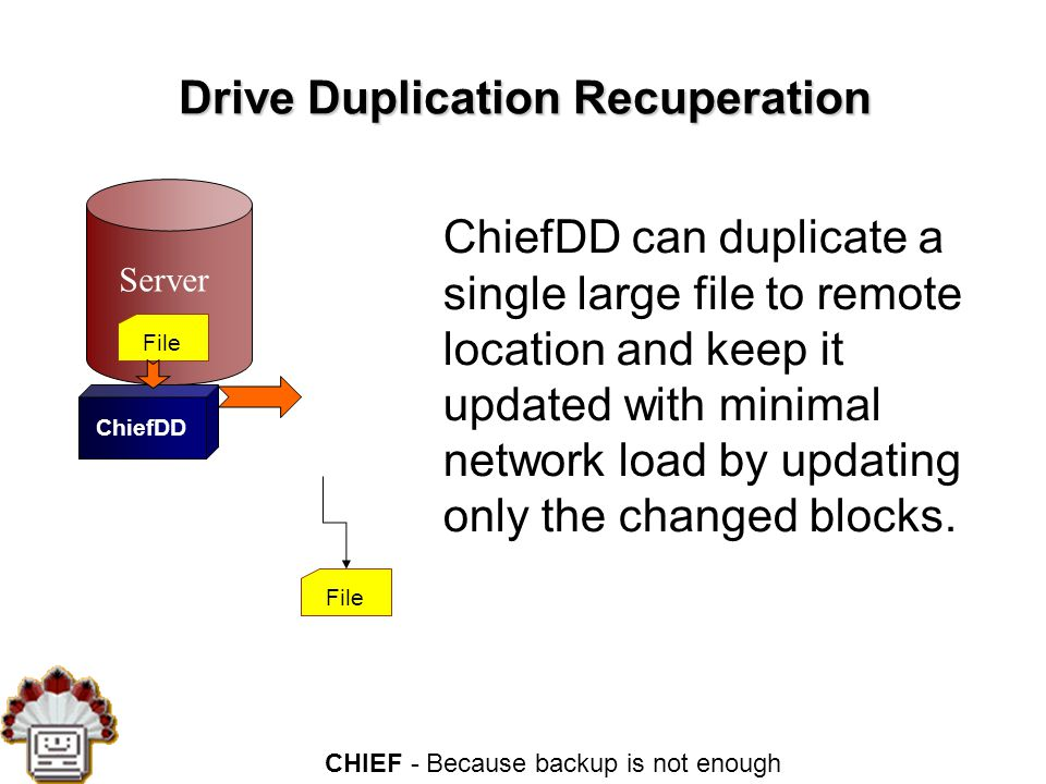 CHIEF - Because backup is not enough Drive Duplication Recuperation Server File ChiefDD can duplicate a single large file to remote location and keep it updated with minimal network load by updating only the changed blocks.