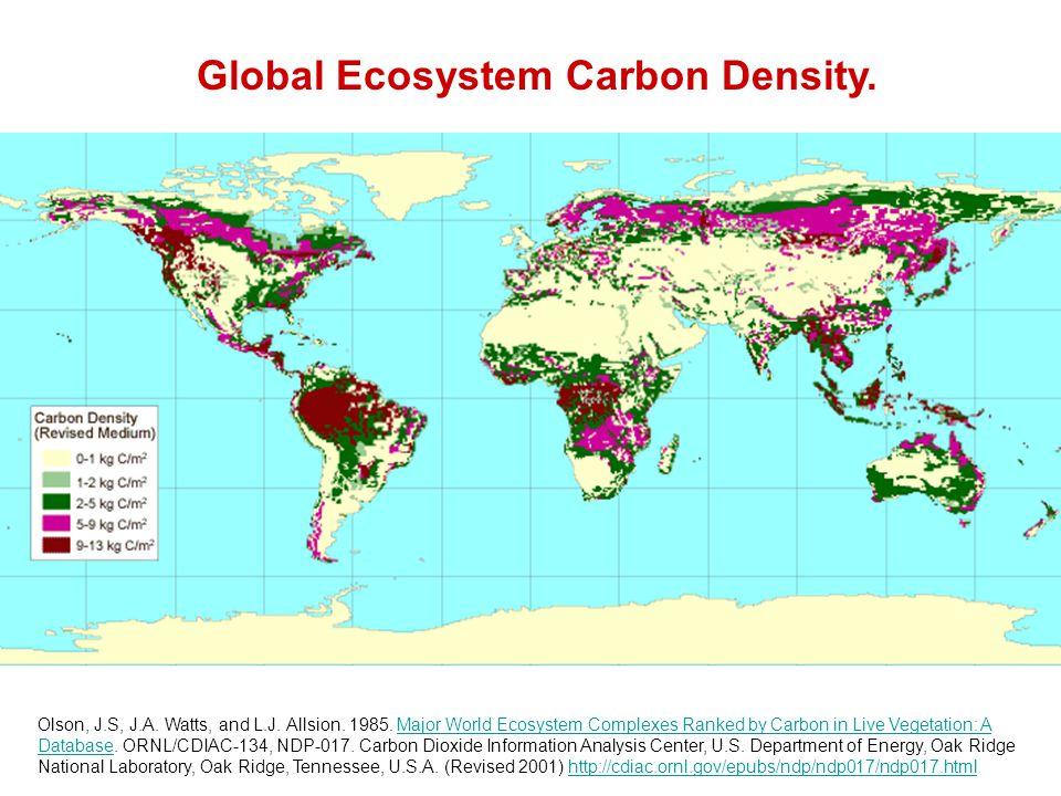 Global Ecosystem Carbon Density. Olson, J.S, J.A.