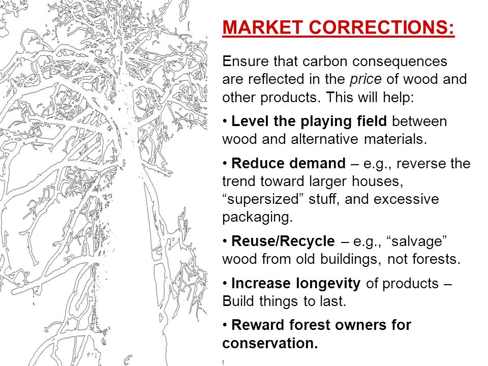 MARKET CORRECTIONS: Ensure that carbon consequences are reflected in the price of wood and other products.