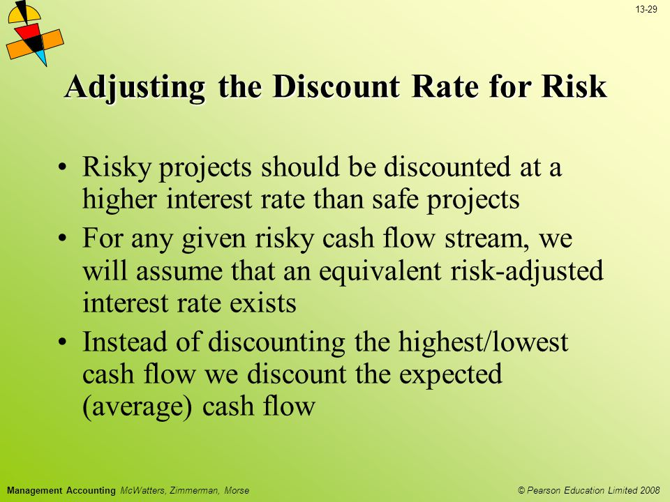 13-29 © Pearson Education Limited 2008 Management Accounting McWatters, Zimmerman, Morse Adjusting the Discount Rate for Risk Risky projects should be discounted at a higher interest rate than safe projects For any given risky cash flow stream, we will assume that an equivalent risk-adjusted interest rate exists Instead of discounting the highest/lowest cash flow we discount the expected (average) cash flow