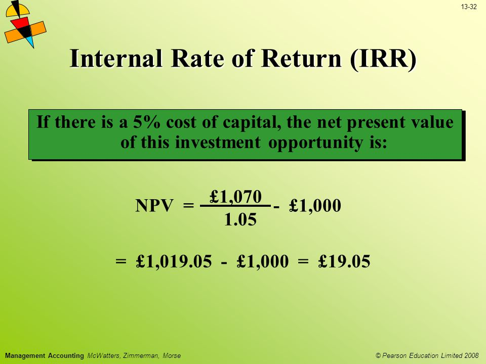 13-32 © Pearson Education Limited 2008 Management Accounting McWatters, Zimmerman, Morse Internal Rate of Return (IRR) NPV = £1,070 1.05 - £1,000 = £1,019.05 - £1,000 = £19.05 If there is a 5% cost of capital, the net present value of this investment opportunity is: