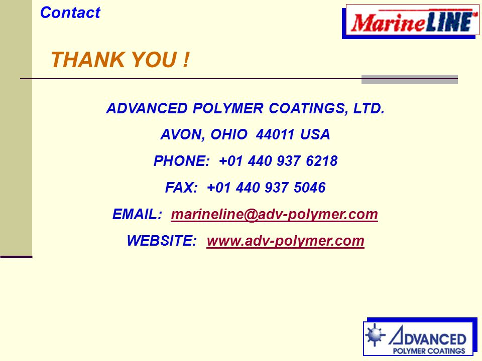 Contact THANK YOU . ADVANCED POLYMER COATINGS, LTD.