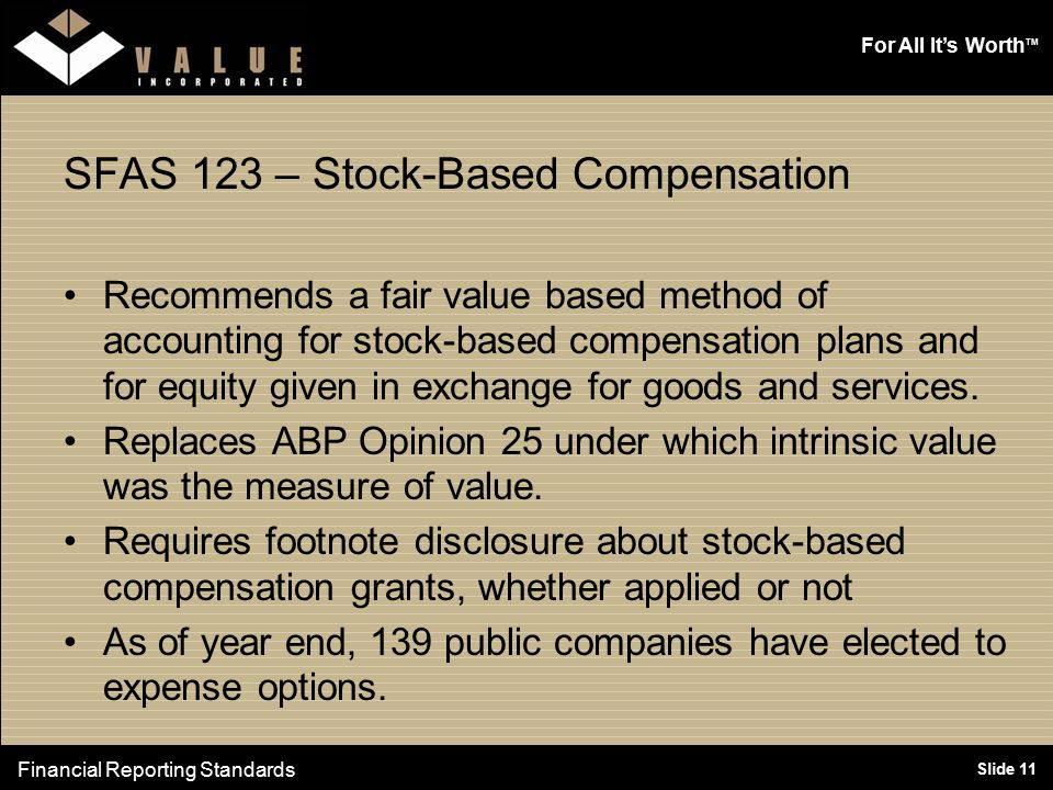 For All It's Worth TM Slide 11 SFAS 123 – Stock-Based Compensation Recommends a fair value based method of accounting for stock-based compensation plans and for equity given in exchange for goods and services.