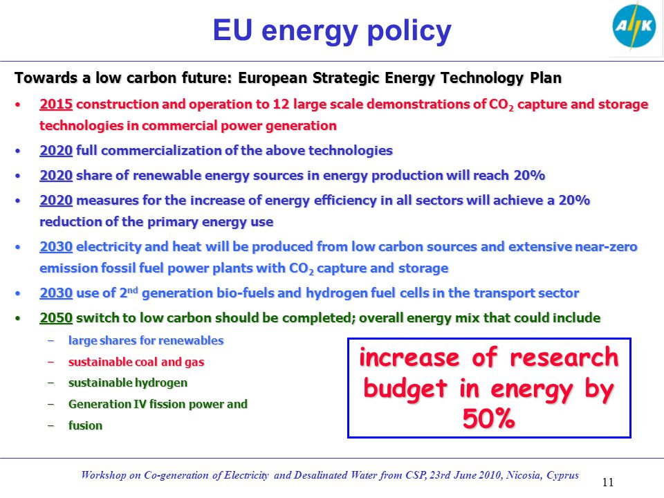 EU energy policy Towards a low carbon future: European Strategic Energy Technology Plan 2015 construction and operation to 12 large scale demonstrations of CO 2 capture and storage technologies in commercial power generation2015 construction and operation to 12 large scale demonstrations of CO 2 capture and storage technologies in commercial power generation 2020 full commercialization of the above technologies2020 full commercialization of the above technologies 2020 share of renewable energy sources in energy production will reach 20%2020 share of renewable energy sources in energy production will reach 20% 2020 measures for the increase of energy efficiency in all sectors will achieve a 20% reduction of the primary energy use2020 measures for the increase of energy efficiency in all sectors will achieve a 20% reduction of the primary energy use 2030 electricity and heat will be produced from low carbon sources and extensive near-zero emission fossil fuel power plants with CO 2 capture and storage2030 electricity and heat will be produced from low carbon sources and extensive near-zero emission fossil fuel power plants with CO 2 capture and storage 2030 use of 2 nd generation bio-fuels and hydrogen fuel cells in the transport sector2030 use of 2 nd generation bio-fuels and hydrogen fuel cells in the transport sector 2050 switch to low carbon should be completed; overall energy mix that could include2050 switch to low carbon should be completed; overall energy mix that could include –large shares for renewables –sustainable coal and gas –sustainable hydrogen –Generation IV fission power and –fusion 11 Workshop on Co-generation of Electricity and Desalinated Water from CSP, 23rd June 2010, Nicosia, Cyprus increase of research budget in energy by 50%