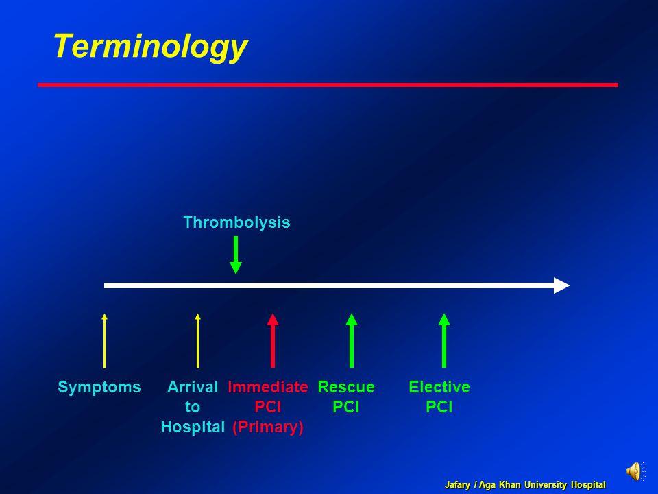 Jafary / Aga Khan University Hospital Terminology SymptomsArrival to Hospital Rescue PCI Thrombolysis Elective PCI Immediate PCI (Primary)
