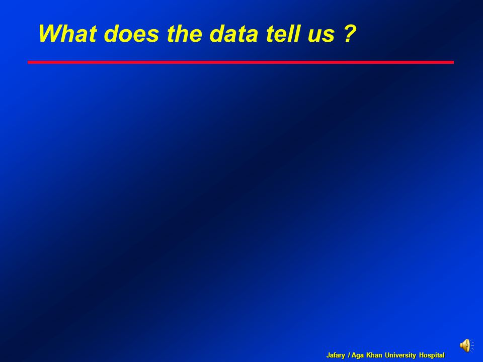 Jafary / Aga Khan University Hospital What does the data tell us ?