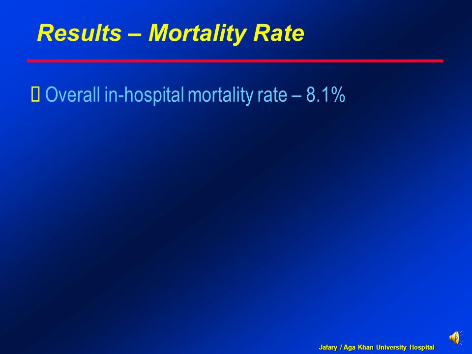 Jafary / Aga Khan University Hospital Results – Mortality Rate  Overall in-hospital mortality rate – 8.1%