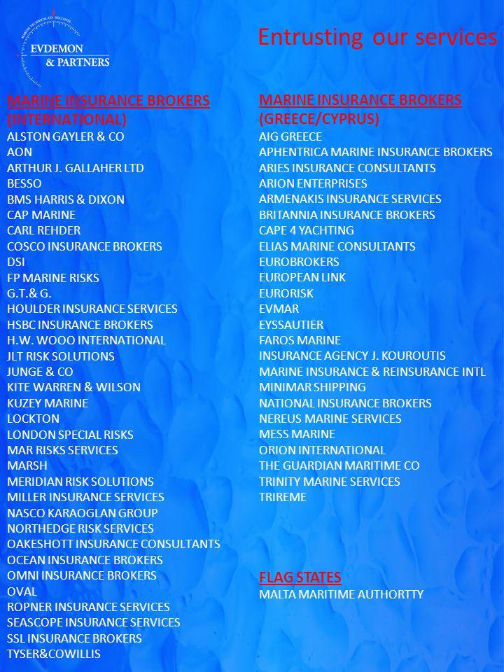 MARINE INSURANCE BROKERS (INTERNATIONAL) ALSTON GAYLER & CO AON ARTHUR J.