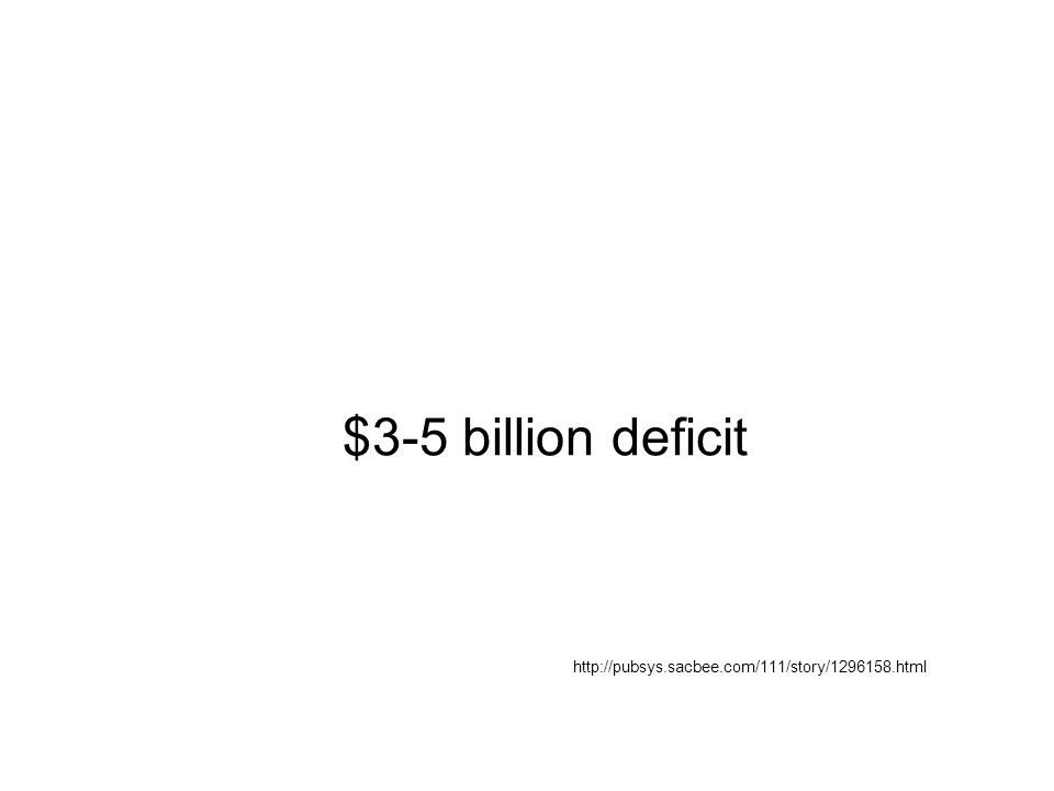 $3-5 billion deficit http://pubsys.sacbee.com/111/story/1296158.html