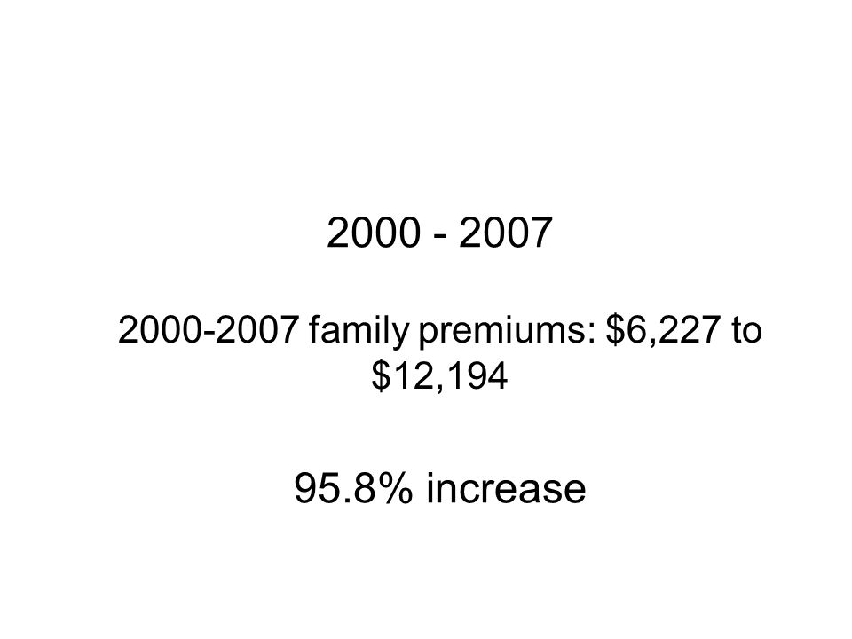 2000-2007 family premiums: $6,227 to $12,194 2000 - 2007 95.8% increase
