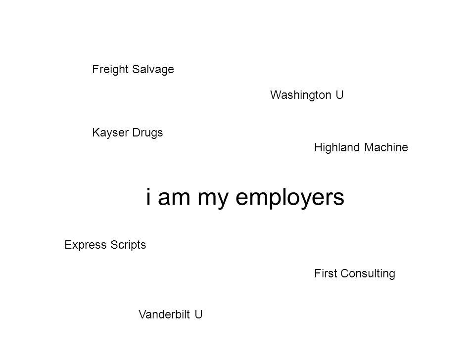 i am my employers Freight Salvage Kayser Drugs Washington U Express Scripts First Consulting Highland Machine Vanderbilt U