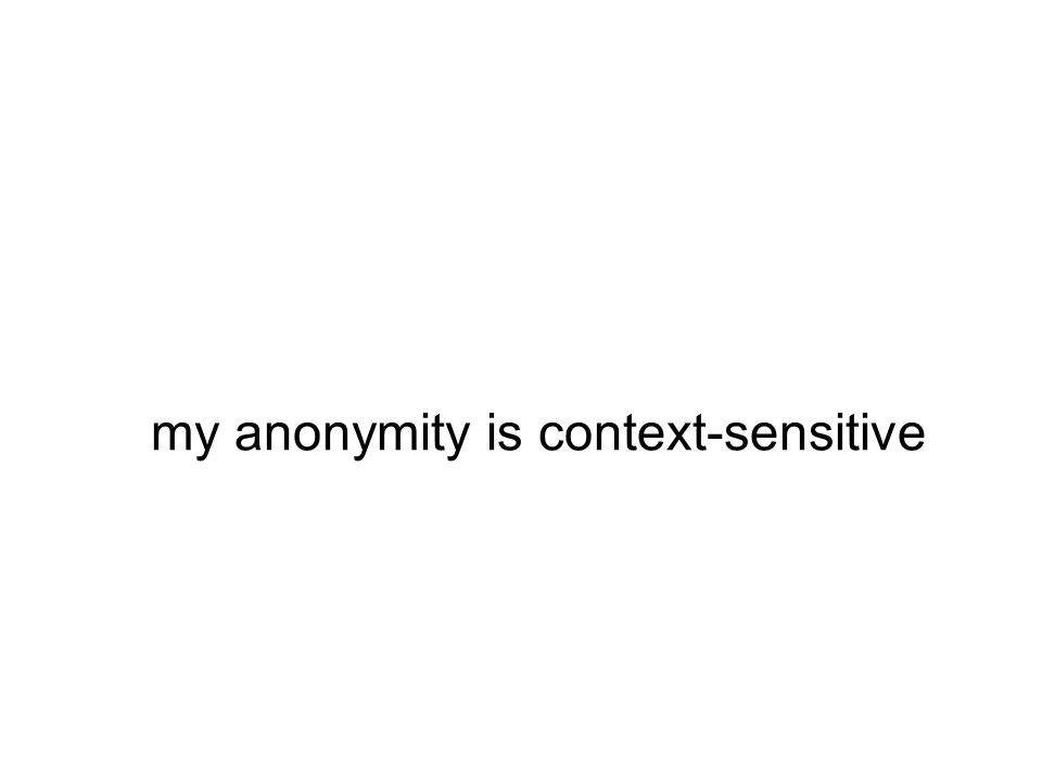 my anonymity is context-sensitive