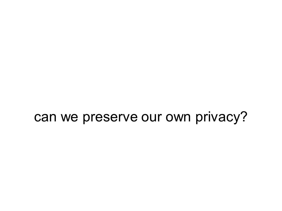 can we preserve our own privacy?