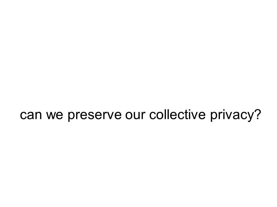can we preserve our collective privacy?