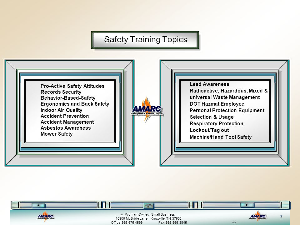 G.J.R A Woman-Owned Small Business 10908 McBride Lane Knoxville, TN-37932 Office-865-675-4599 Fax-865-966-3945 8 General Safety Training Available Topics General Safety Training Available Topics By clicking on one of the icons to the left of the training course name, you can see an introduction of the training Safety/Orientation Fire Safety/Emergency Back Safety Indoor Air Quality Fire Extinguisher Training Bloodborne Pathogens Heat Stress Cold Stress
