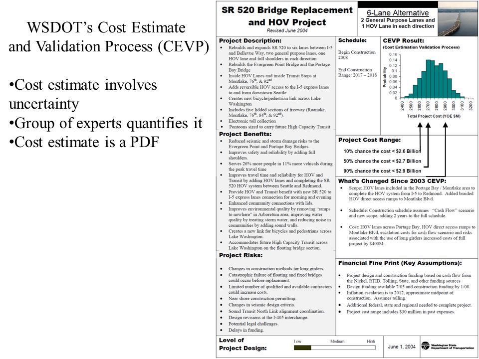 17 WSDOT's Cost Estimate and Validation Process (CEVP) Cost estimate involves uncertainty Group of experts quantifies it Cost estimate is a PDF