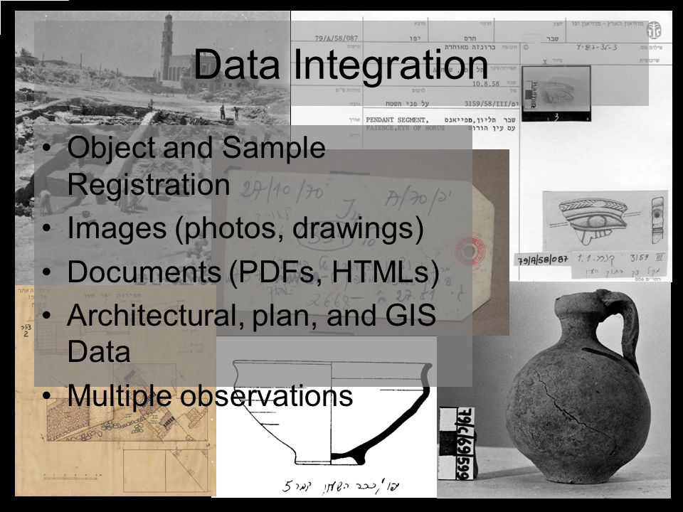 Data Integration Object and Sample Registration Images (photos, drawings) Documents (PDFs, HTMLs) Architectural, plan, and GIS Data Multiple observations