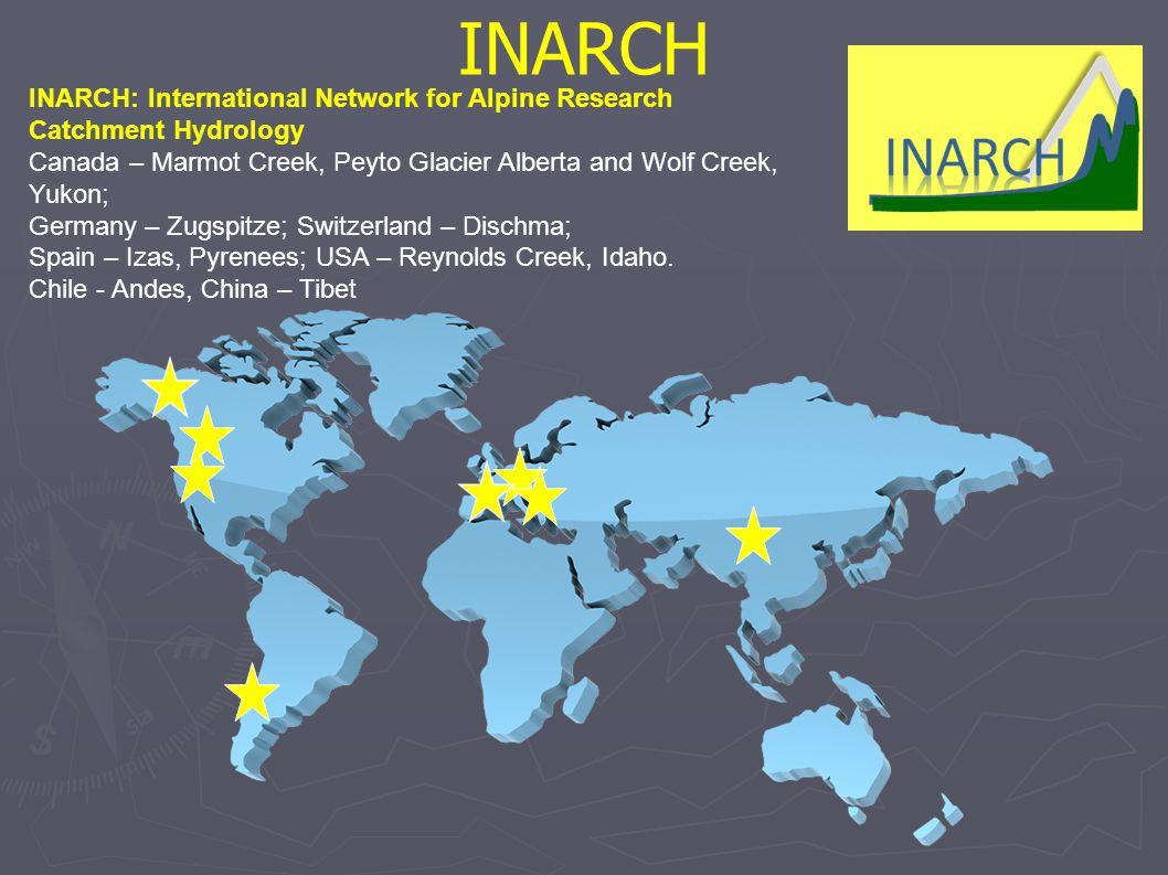 INARCH INARCH: International Network for Alpine Research Catchment Hydrology Canada – Marmot Creek, Peyto Glacier Alberta and Wolf Creek, Yukon; Germany – Zugspitze; Switzerland – Dischma; Spain – Izas, Pyrenees; USA – Reynolds Creek, Idaho.