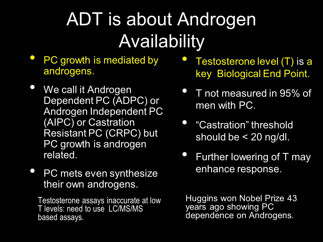 ADT is about Androgen Availability Huggins won Nobel Prize 43 years ago showing PC dependence on Androgens.