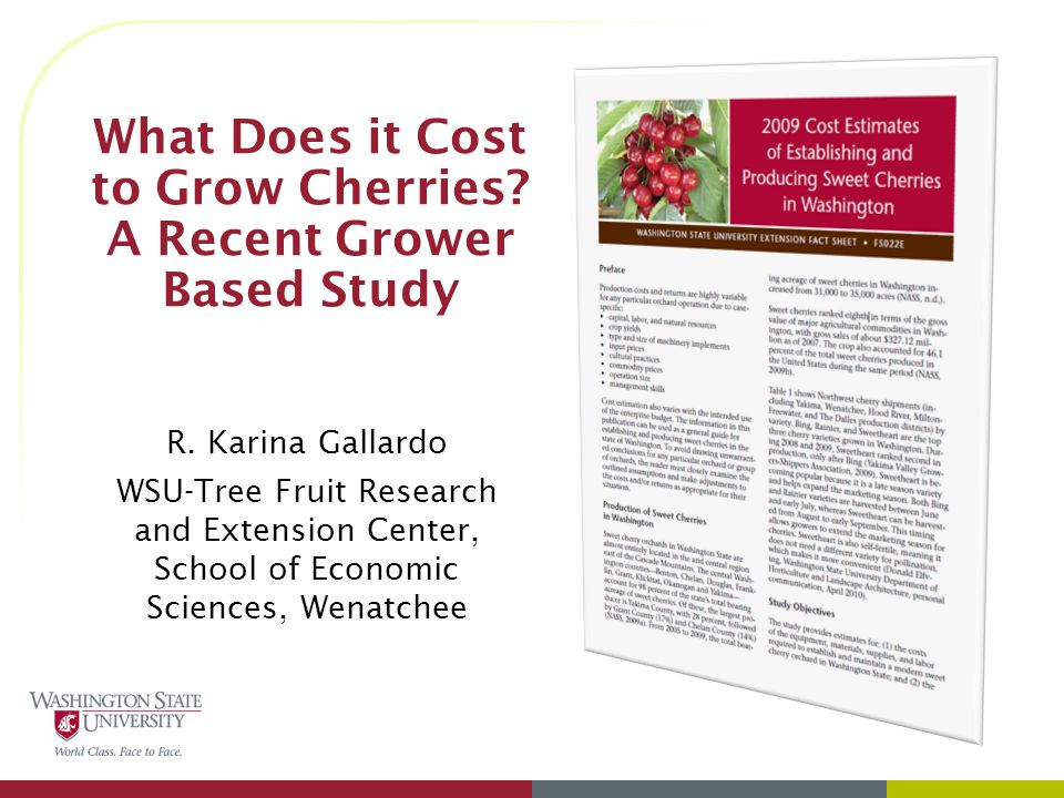 What Does it Cost to Grow Cherries. A Recent Grower Based Study R.