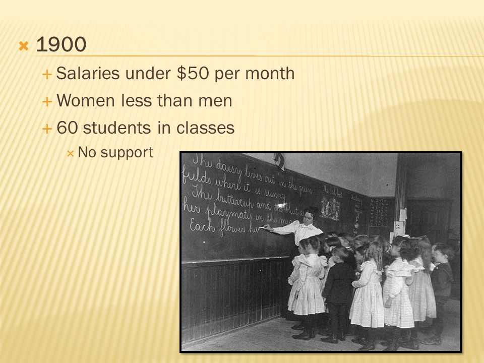  1900  Salaries under $50 per month  Women less than men  60 students in classes  No support