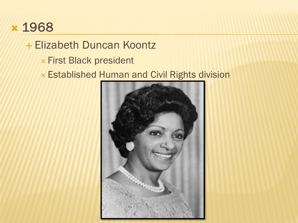  1968  Elizabeth Duncan Koontz  First Black president  Established Human and Civil Rights division