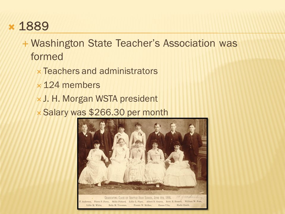  1889  Washington State Teacher's Association was formed  Teachers and administrators  124 members  J.