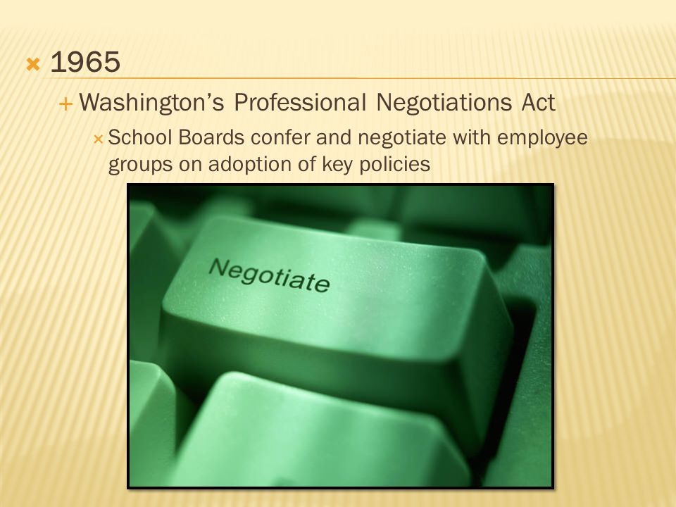  1965  Washington's Professional Negotiations Act  School Boards confer and negotiate with employee groups on adoption of key policies