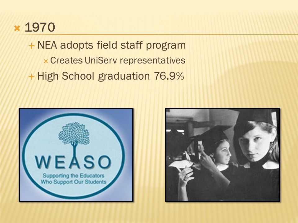  1970  NEA adopts field staff program  Creates UniServ representatives  High School graduation 76.9%