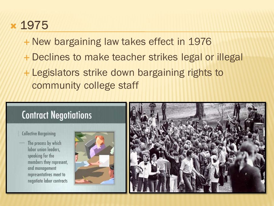  1975  New bargaining law takes effect in 1976  Declines to make teacher strikes legal or illegal  Legislators strike down bargaining rights to community college staff