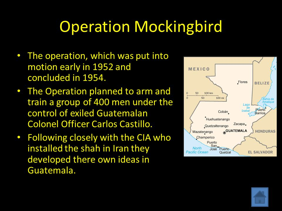 Operation Mockingbird The operation, which was put into motion early in 1952 and concluded in 1954.