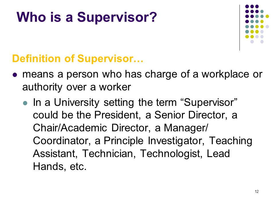 12 Who is a Supervisor? Definition of Supervisor… means a person who has charge of a workplace or authority over a worker In a University setting the