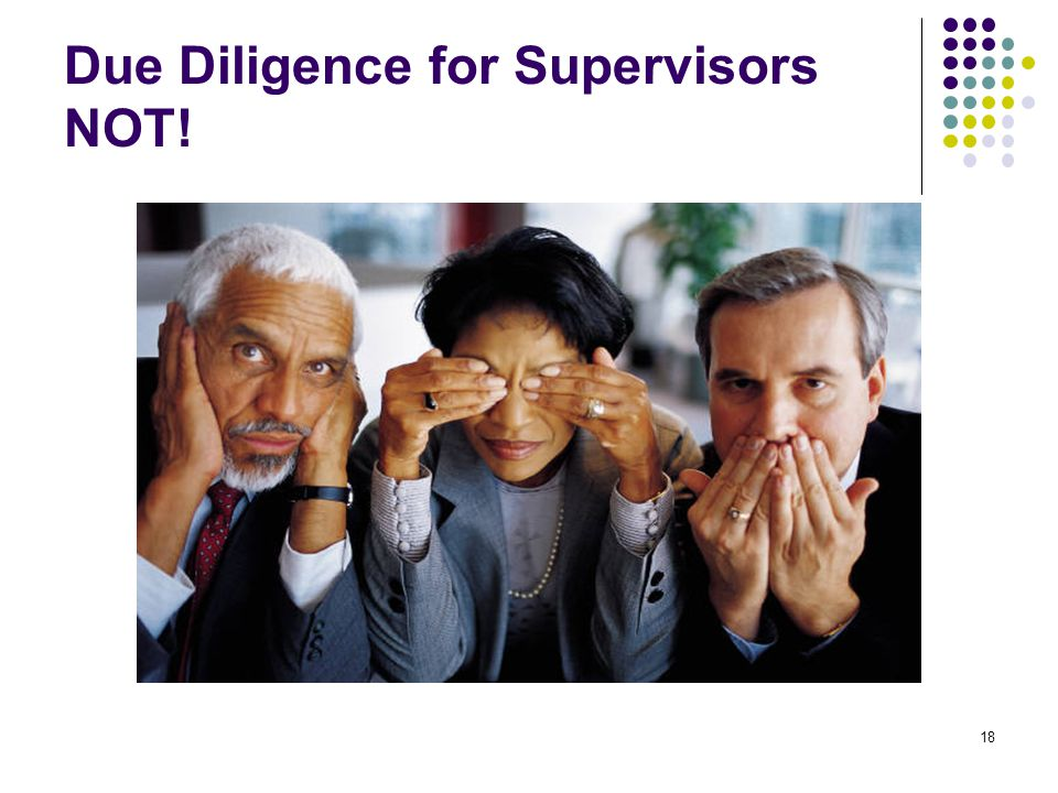 18 Due Diligence for Supervisors NOT!