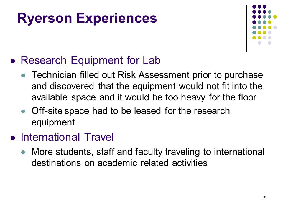 28 Ryerson Experiences Research Equipment for Lab Technician filled out Risk Assessment prior to purchase and discovered that the equipment would not