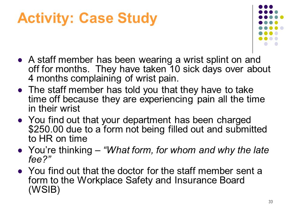 33 Activity: Case Study A staff member has been wearing a wrist splint on and off for months. They have taken 10 sick days over about 4 months complai