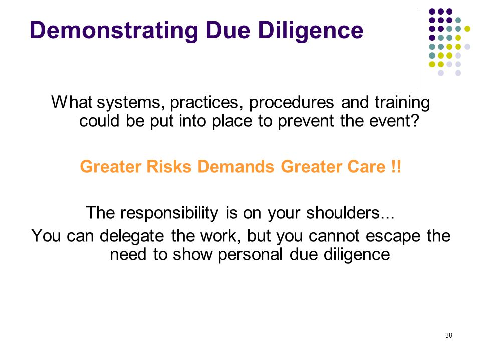 38 Demonstrating Due Diligence What systems, practices, procedures and training could be put into place to prevent the event? Greater Risks Demands Gr