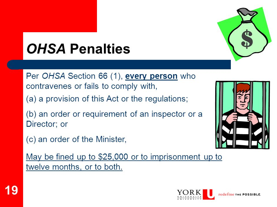 19 Per OHSA Section 66 (1), every person who contravenes or fails to comply with, (a) a provision of this Act or the regulations; (b) an order or requ