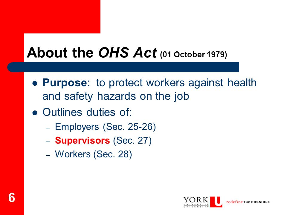7 About the OHS Act cont.