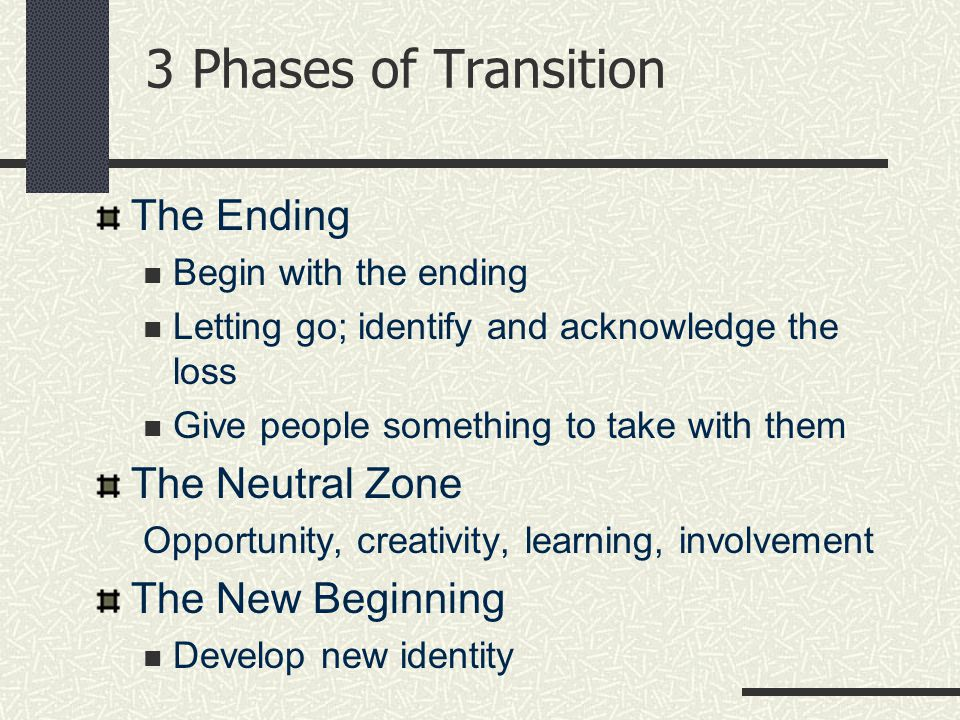 The Ending Begin with the ending Letting go; identify and acknowledge the loss Give people something to take with them The Neutral Zone Opportunity, creativity, learning, involvement The New Beginning Develop new identity 3 Phases of Transition