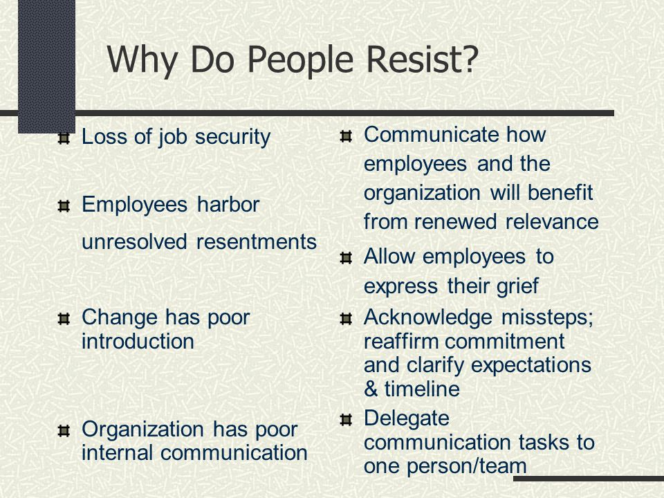 Why Do People Resist.