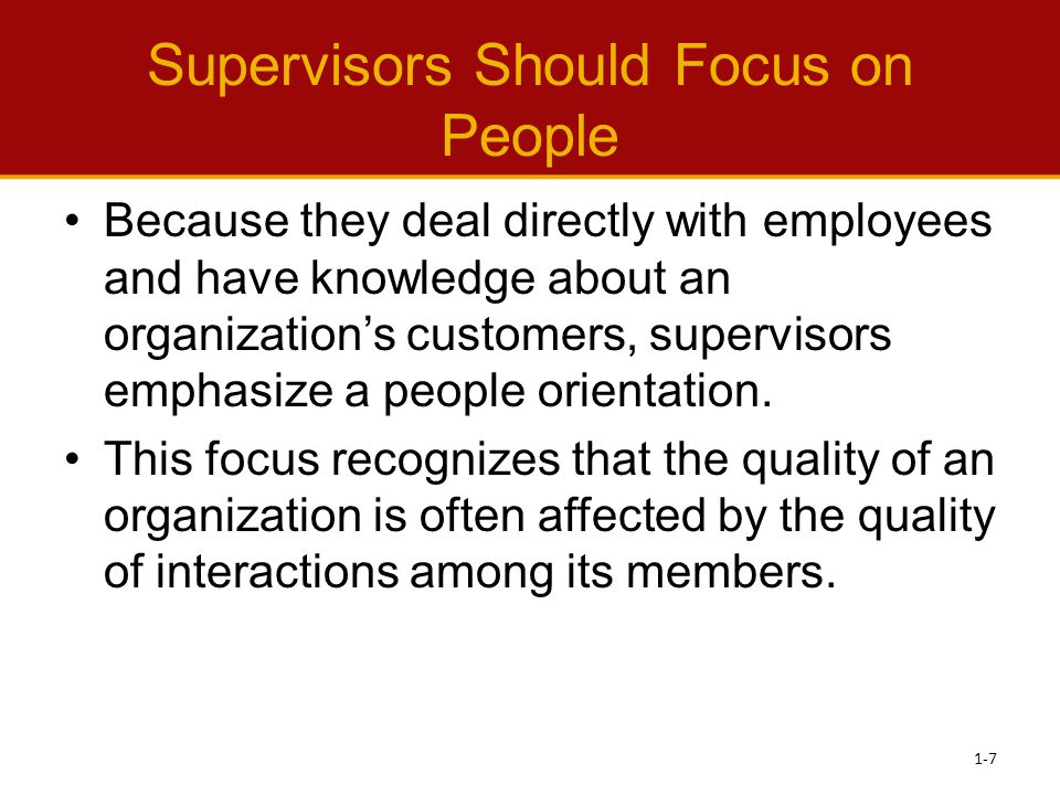 Leading –Influencing people to act (or not act) in a certain way The supervisor is responsible for letting employees know what is expected of them and inspiring and motivating employees to do good work.