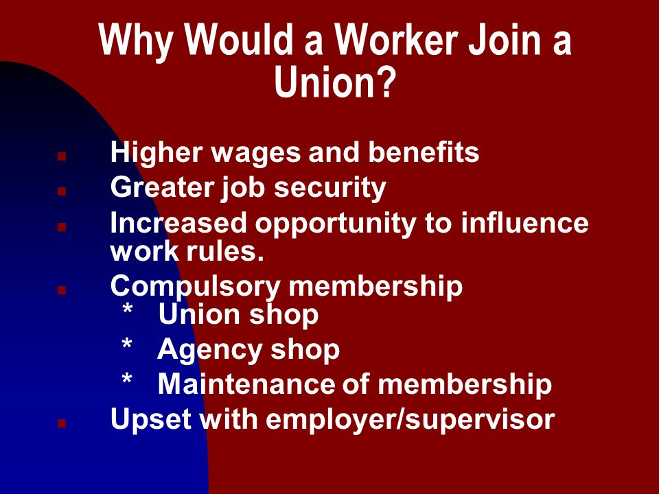 4 National Labor Relations Act (1935) n Guaranteed worker the right to organize and join unions, to bargain collectively, and to act in concert in pursuit of their objectives.