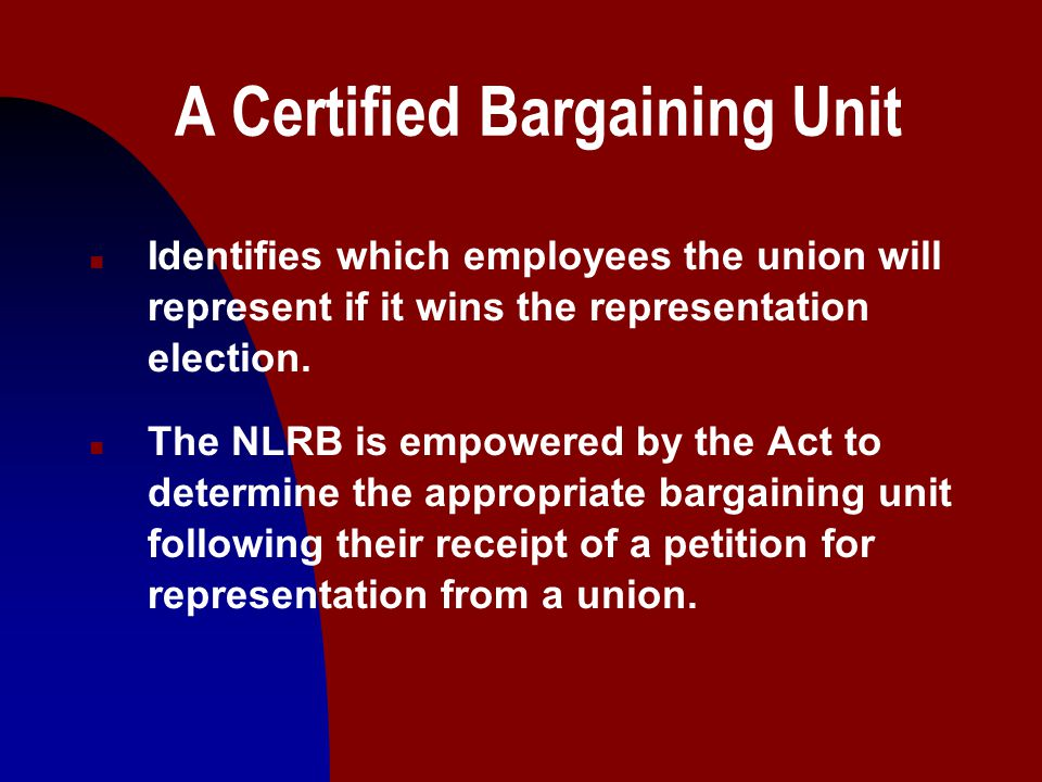 10 A Certified Bargaining Unit n Proper receipt of a petition requires that the union secure signed authorization cards from at least 30% of the employees that it desires to represent.