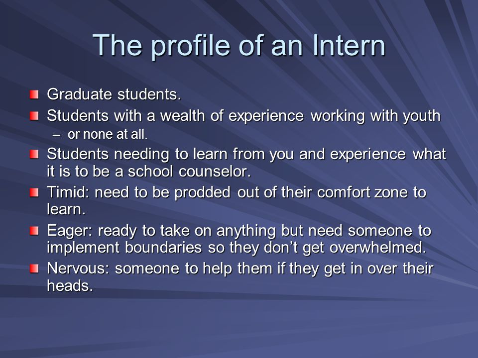 The profile of an Intern Graduate students.