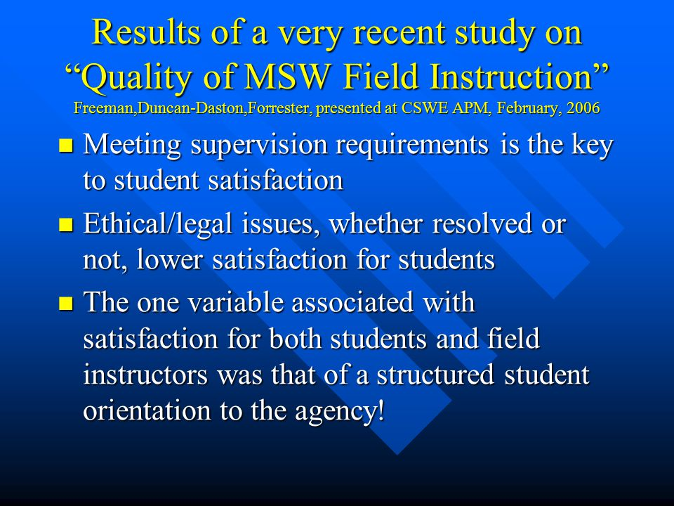 Results of a very recent study on Quality of MSW Field Instruction Freeman,Duncan-Daston,Forrester, presented at CSWE APM, February, 2006 Meeting supervision requirements is the key to student satisfaction Meeting supervision requirements is the key to student satisfaction Ethical/legal issues, whether resolved or not, lower satisfaction for students Ethical/legal issues, whether resolved or not, lower satisfaction for students The one variable associated with satisfaction for both students and field instructors was that of a structured student orientation to the agency.