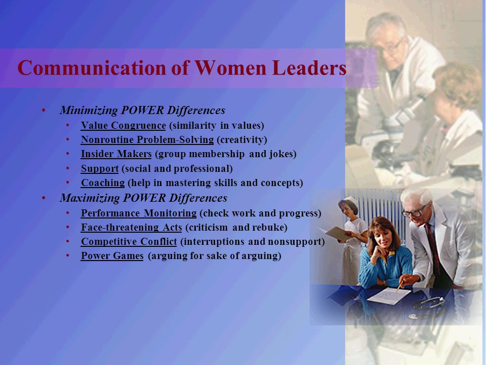 Communication of Women Leaders Minimizing POWER Differences Value Congruence (similarity in values) Nonroutine Problem-Solving (creativity) Insider Ma