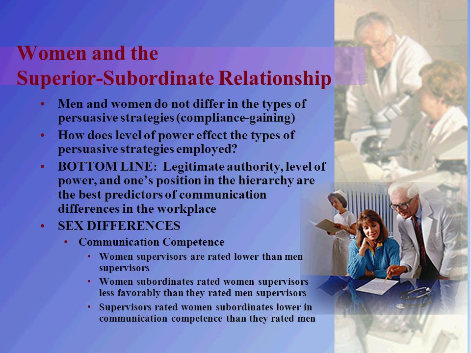 Women and the Superior-Subordinate Relationship Men and women do not differ in the types of persuasive strategies (compliance-gaining) How does level